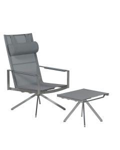Laurenza lounge tuinstoel met voetenbank - grijs