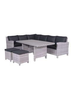 Garden Impressions Norma lounge dining set 5-delig links - grijs Wicker