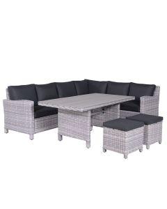 Norma lounge dining set 5-delig rechts - licht grijs
