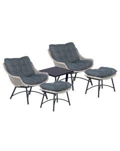 Selene loungestoelen met Kent bijzettafel - donker grijs