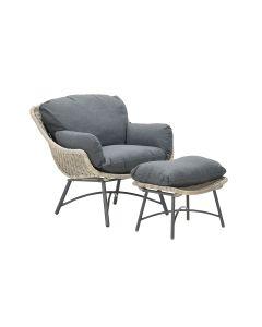Selene relax fauteuil + voetenbank bruin