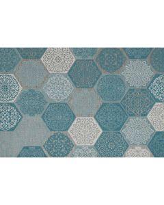Buitenkleed Hexagon turquoise 200x290 cm