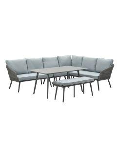 Dawson lounge dining set 6-delig - donker grijs