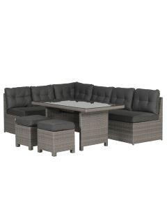 Lapa lounge dining set 5-delig incl. 2 krukjes - grijs
