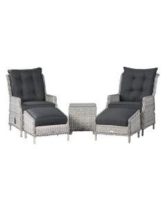 Santa Rosa relax stoelen incl. voetenbank en bijzettafel - licht grijs
