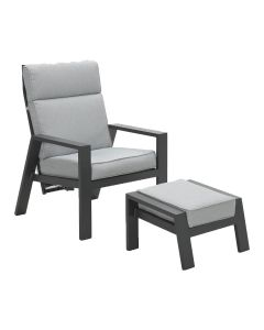 Lora verstelbare loungestoel + voetenbank