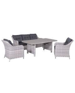 Nova lounge dining set 4-delig - licht grijs