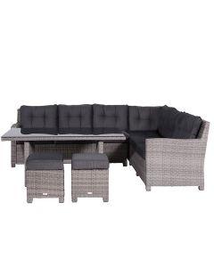 Jaru lounge dining set 5-delig rechts incl. 2 krukjes - grijs