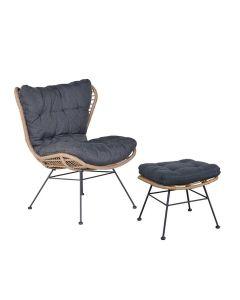 Melfort lounge tuinstoel incl. voetenbank - bruin