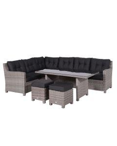 Garden Impressions Jaru lounge dining set grijs - incl- 2 krukjes Wicker