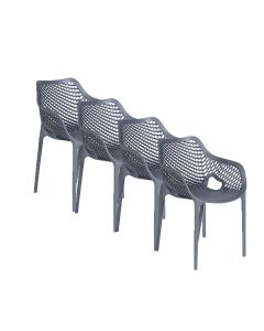 Air XL design tuinstoel donker grijs - 4 stuks
