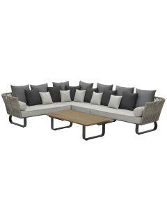 Venosa loungeset 4-delig links - donker grijs