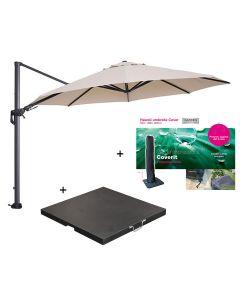 Hawaii zweefparasol Ø350 cm donker grijs/ecru met 90 kg parasolvoet en parasolhoes