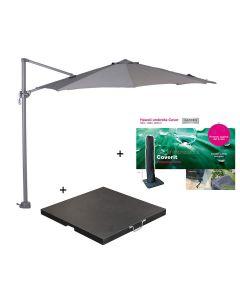 Hawaii zweefparasol S Ø300 - donker grijs/licht grijs met 60 kg parasolvoet en parasolhoes