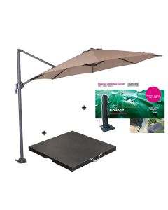 Hawaii zweefparasol S Ø300 - donker grijs/taupe met 60 kg parasolvoet en parasolhoes
