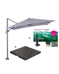 Hawaii zweefparasol S 250x250 - donker grijs/licht grijs met 60 kg parasolvoet en parasolhoes