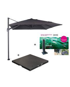 Hawaii zweefparasol S 250x250 - donker grijs/zwart met 60 kg parasolvoet en parasolhoes
