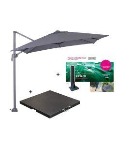 Hawaii zweefparasol S 250x250 - donker grijs met 60 kg parasolvoet en parasolhoes