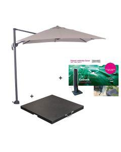 Hawaii zweefparasol S 250x250 - donker grijs/zand met 60 kg parasolvoet en parasolhoes