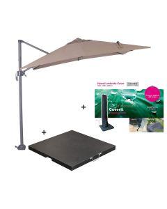 Hawaii zweefparasol S 250x250 - donker grijs/taupe met 60 kg parasolvoet en parasolhoes