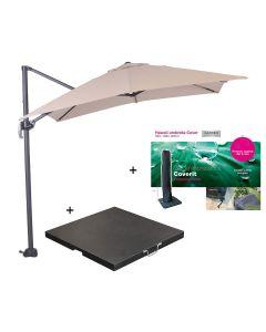 Hawaii zweefparasol S 250x250 - donker grijs/ecru met 60 kg parasolvoet en parasolhoes