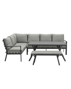 Senja lounge dining set 4-delig links - donker grijs