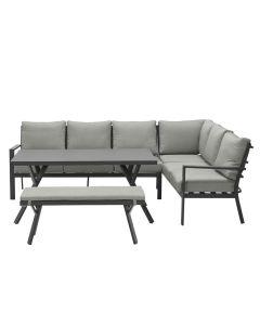 Senja lounge dining set 4-delig rechts - donker grijs