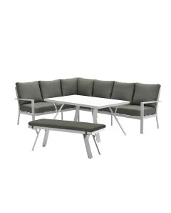 Senja lounge dining set 4-delig links - wit/mos groen