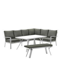 Senja lounge dining set 4-delig rechts - wit/mos groen