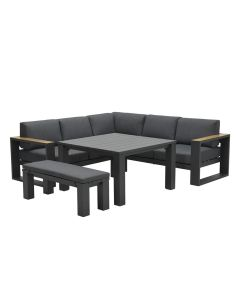 Plaza lounge dining set 5-delig donker grijs - teaklook