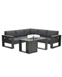 Plaza loungeset 4-delig - donker grijs met Sines vuurtafel
