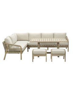 Alora lounge dining set 5-delig links - acacia