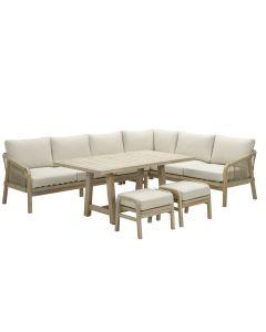 Alora lounge dining set 5-delig rechts - acacia