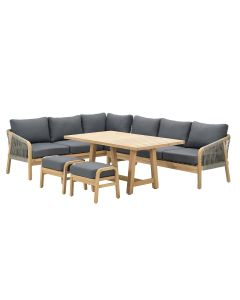 Alora lounge dining set 5-delig links - donker grijs