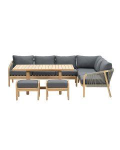 Alora lounge dining set 5-delig rechts - donker grijs