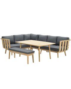 San Leone lounge dining set 6-delig - donker grijs