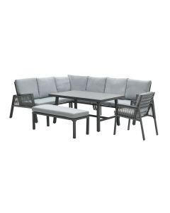 Brendon lounge dining set 6-delig links - licht grijs