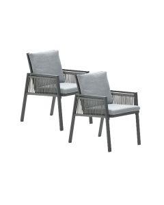 Brendon lounge dining stoel licht grijs - 2 stuks