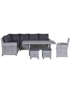 Alaska lounge dining set 6-delig links - grijs