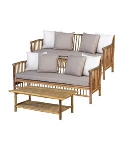 Bamboe loungeset 3-delig - natural finish