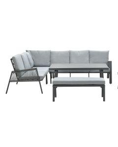 Brendon lounge dining set 5-delig links - licht grijs