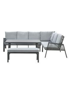 Brendon lounge dining set 5-delig rechts - licht grijs