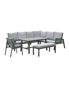 Brendon lounge dining set 6-delig rechts - licht grijs