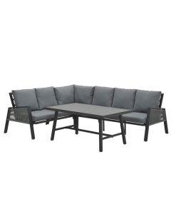 Brendon lounge dining set 4-delig - donker grijs