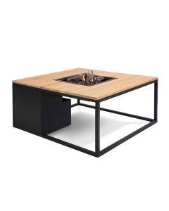Cosiloft lounge vuurtafel 100 cm zwart - teak top