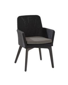Lisboa dining fauteuil donker grijs - Aluminium poten