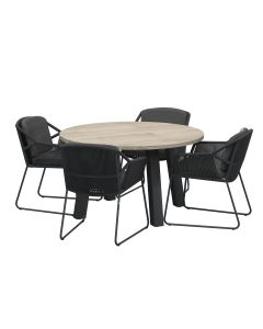 Accor tuinset 5-delig - Derby tuintafel Ø130 cm