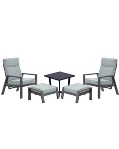 Lora loungestoelen incl. voetenbank met Kent bijzettafel - mint grijs
