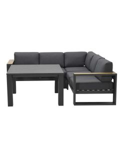 Plaza lounge dining set 4-delig donker grijs - teaklook