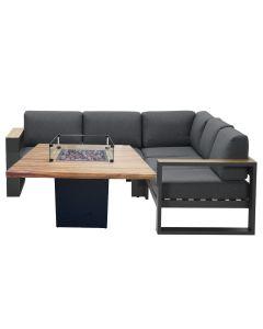 Plaza loungeset 4-delig - donker grijs met Sagres sfeerhaard